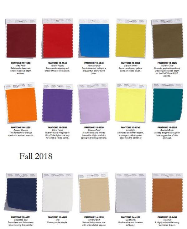 modne kolory na jesień 2018 pantone